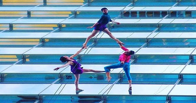 ملائیشیا میں منچلوں کا دیوار پر رقص