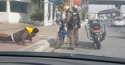 ٹریفک قوانین کی خلاف ورزی، سڑک پر پش اپس لگوائے