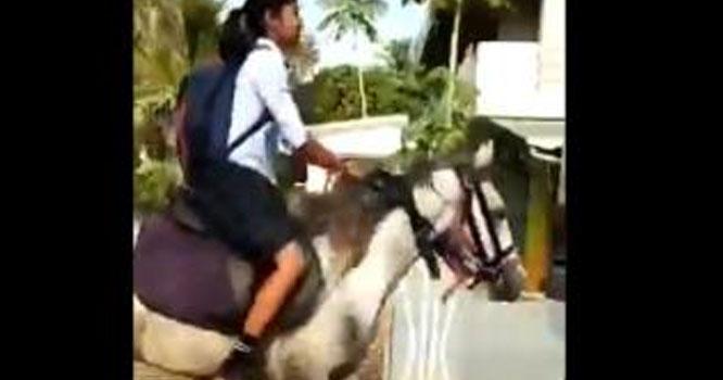بھارت: گھڑ سواری کرتی بچی پیپر دینے پہنچ گئی