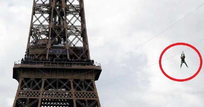 ایفل ٹاور پر زپ لائن سے شہری محظوظ ہونے لگے