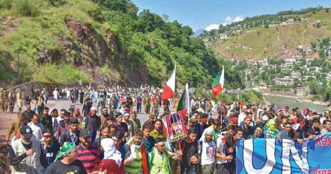 ہزاروں افراد کا کنٹرول لائن کی طرف مارچ تیسرے روز بھی جاری