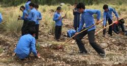 کرونا کی وجہ سے تمام تعلیمی ادارے بند تاہم شجر کاری مہم میں بچوںسے بغیر ماسک اور حفاظتی اقدام کے درخت  لگوائے جاتے رہے