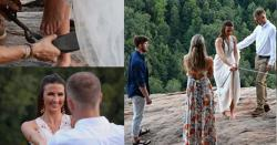 گوروں کے کام نرالے ،شہری نےاپنی شادی کو یادگاربنانےکے لیے نوبیاہتا دلہن کو پہاڑ سے لٹکادیا