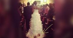 شادی کی تقریب میں نومولود بچے کو اپنے لباس کے ساتھ باندھ کر گھسیٹنے والی دلہن پر سوشل میڈیا صارفین برہم
