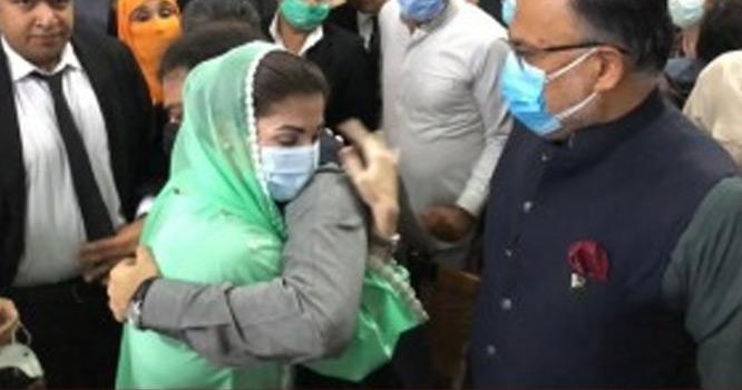 مریم نواز کی حمزہ شہباز سے گلے ملنے کی تصویر سوشل میڈیا پر وائرل