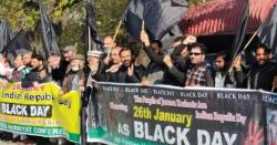 آل پارٹیزحریت کانفرنس اورجموں وکشمیرلبریشن سیل کا بھارتی یوم جمہوریہ کےموقع پربھارتی ہائی کمیشن کےسامنےاحتجاجی مظاہرہ