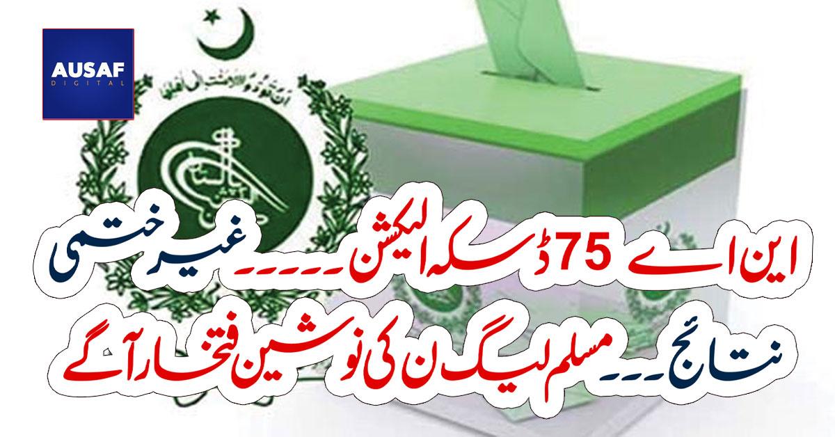این اے 75 ڈسکہ الیکشن ۔۔۔۔۔ غیر ختمی نتائج ۔۔۔مسلم لیگ ن کی نوشین فتخار آگے